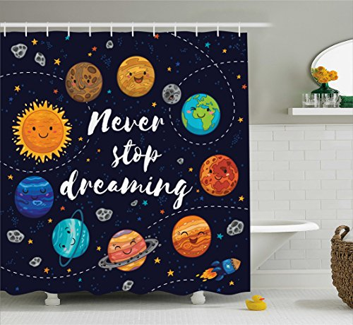 Quotes Decor Shower Curtain Set By Ambesonne, Cute Outer Space Planets And Star Cluster Solar System Moon And Comets Sun Cosmos Illustration, Bathroom Accessories, 69W X 70L Inches, (Moon Cluster)