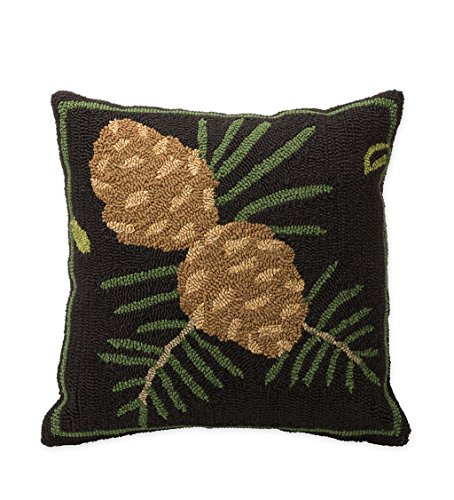 Indoor Outdoor Woodland Decorative Throw Pillow with Pine Cones - 17.75 L x 17.75 W x 4.25 H (Plow And Outdoor Hearth Pillows)