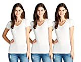 Active Basic Women's V Neck T Shirts - 3 Pack Deal(3 Wht-L)