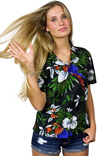 - King Kameha Funky Hawaiian Blouse Shirt, Shortsleeve, Cherryparrot, Black, 5XL