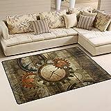 WellLee Area Rug,Retro Steampunk Clocks And Gears Floor Rug Non-slip Doormat for Living Dining Dorm Room Bedroom Decor 31x20 Inch