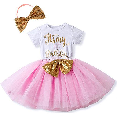 FYMNSI Newborn Baby Girls It's My 1st Birthday Cake Smash Dress Infant Shiny Printed Sequin Bowknot Tutu Princess Dress (My First Birthday Cake)