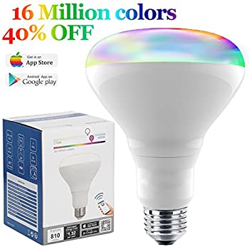 Smart Bulb 13W Color Changing Light Bulb Bluetooth Bright LED Flood Light,  80 Watt Equivalent BR30 Dimmable Wireless Daylight Multicolor Smartphone ...