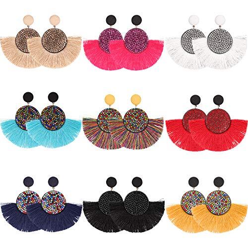 9 Pairs Dangle Tassel Hoop Earrings Handmade Bohemian Earrings Fan Shaped Drop Earring for Women Girls Favor (Style 1)