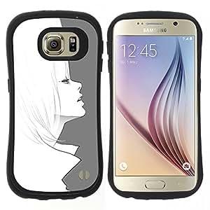 "Hypernova Slim Fit Dual Barniz Protector Caso Case Funda Para Samsung Galaxy S6 [Arte Dibujo 60'S Moda Lápiz de pelo""]"