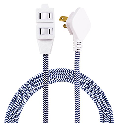 Cordinate Designer 3-Outlet Extension Cord, 2 Prong Power Strip, Extra Long 8 Ft Cable with Flat Plug, Braided Chevron Fabric Cord, Slide-to-Lock Safety Outlets, Navy/White, 41894