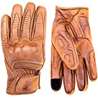Premium Leather Motorcycle Gloves (Camel) Cool,...