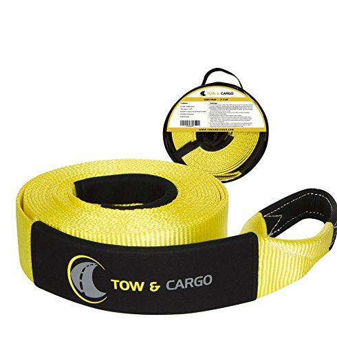Tow & Cargo Tow Recovery Strap, Heavy Duty With Loops, 30 ft 30000 lb Break Strength, 10000 WLL, UTV ATV Off Road Tow Rope - Pair with winch, snatch block, D Ring Bow Shackles (30 FT)