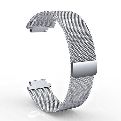 ECSEM Metal bands Replacemant Magnetic Milanese Loop Stainless Steel Wristband Strap for Garmin Approach S2 S4/Garmin Vivocative Smartwatch (Silver) by ECSEM