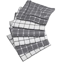 """DII Cotton Terry Windowpane Dish Cloths, 12 x 12"""" Set of 6, Machine Washable and Ultra Absorbent Kitchen Bar Towels-Gray"""