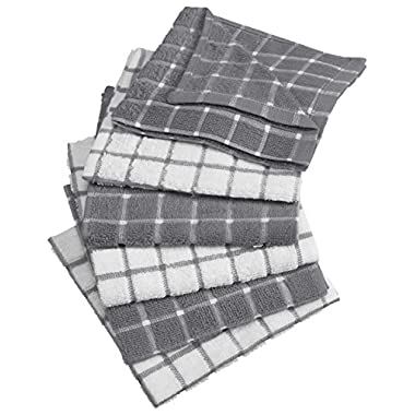DII 100% Cotton, Machine Washable, Basic Everyday Kitchen Dish Cloth, Windowpane Design, 12 x 12  Set of 6- Gray