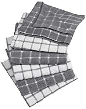 "DII 100% Cotton, Machine Washable, Ultra Absorbant, Basic Everyday 12 x 12"" Terry Kitchen Dish Cloths, Windowpane Design, Set of 6- Gray"