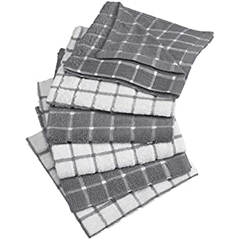 DII Cotton Terry Windowpane Dish Cloths Machine Washable, Absorbant and Multi-Use, 12x12, Gray