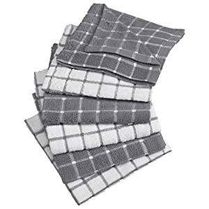 "DII Cotton Terry Windowpane Dish Cloths, 12 x 12"" Set of 6, Machine Washable and Ultra Absorbent Kitchen Bar Towels-Gray"