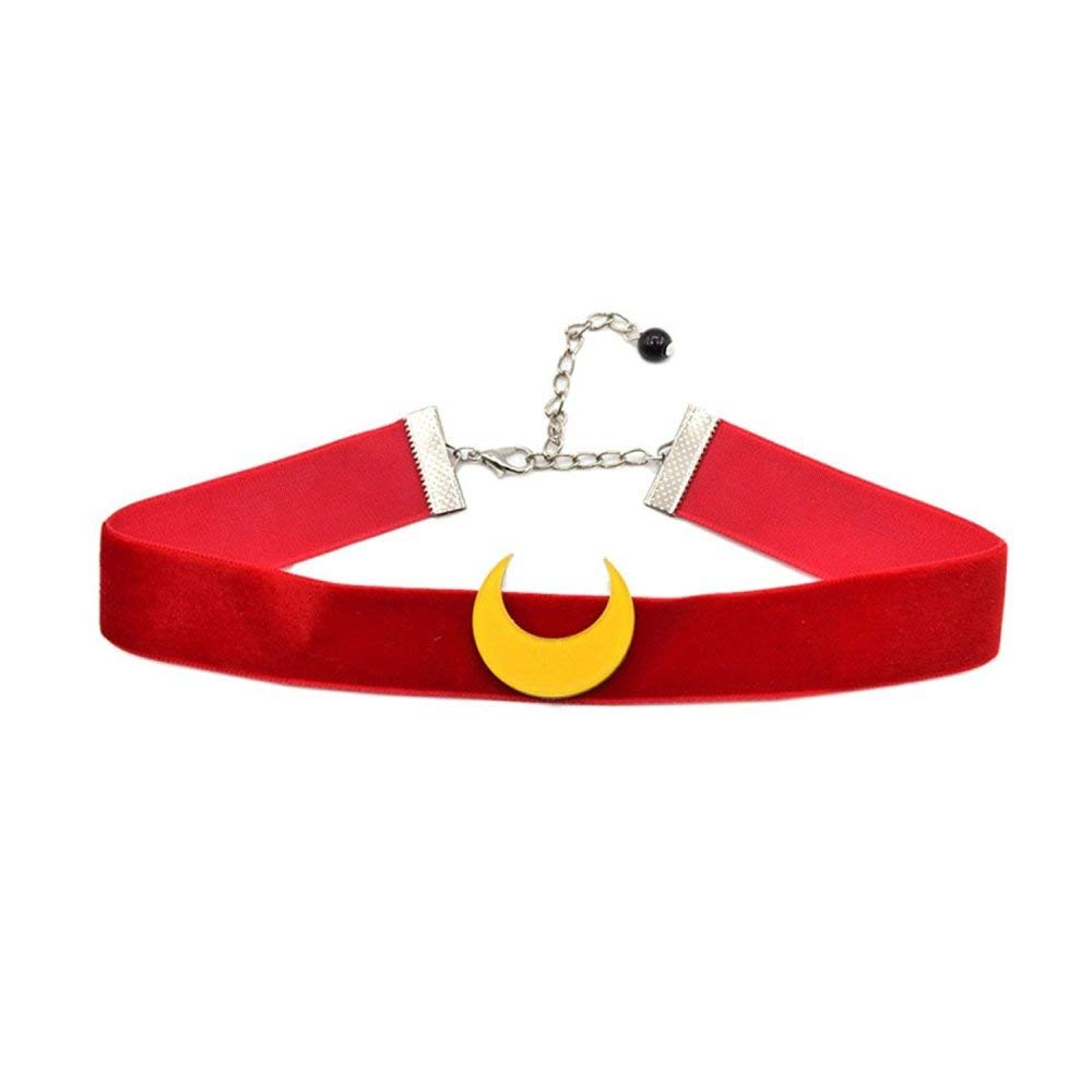 Acccity Red Sailor Moon Usagi Choker Cosplay Chocker Necklace Jewelry (Red)