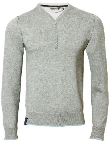 Dissident Herren Pullover mit T-shirt Einsatz Y-Ausschnitt MA25276 Light grau marl Gr. L