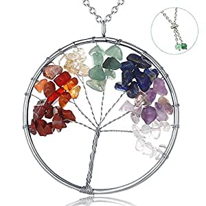 """Stainless Steel Gemstone Necklace for Women, 32"""" Adjustable Tree of Life Pendant Chakra Necklace for Mom, Best friend"""
