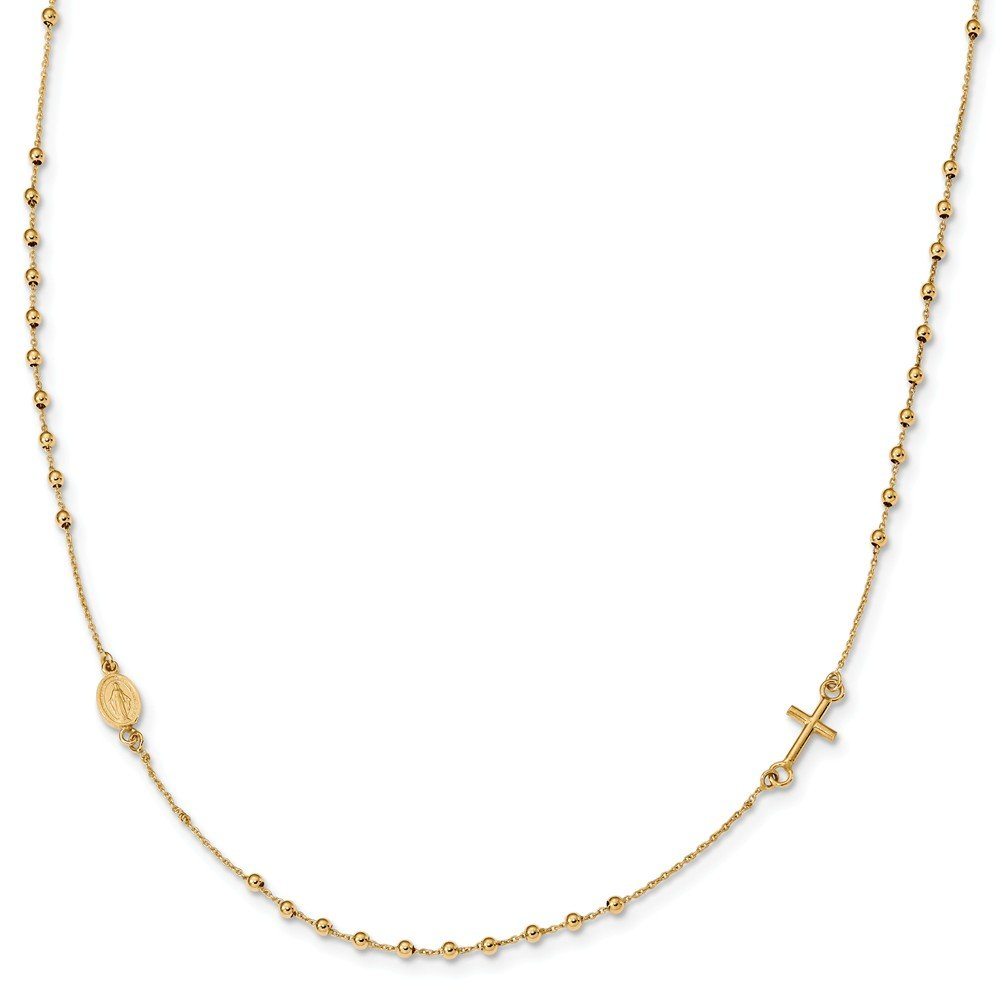 14k Yellow Gold Rosary Cross Necklace 16inch