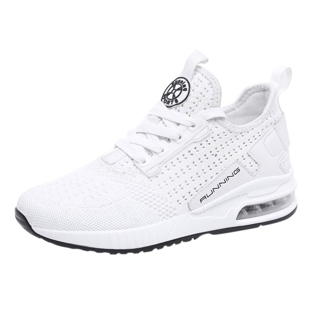 Driuankeji Fashion Sneakers for Men's Breathable Cushion Sneakers Super Lightweight Casual Running Shoes White