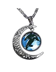GiftJewelryShop Killer Whale Show Crescent Moon Galactic Universe Glass Cabochon Pendant Necklace