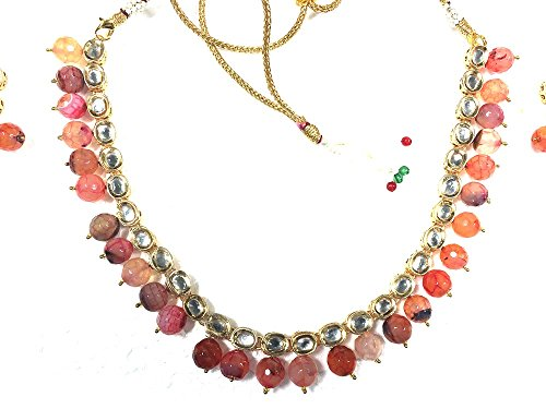 Ensemble boucles d'oreille Mogul intérieur-Collier ras du cou Femme-Véritable aux nuances dorées Bollywood Parure polki Jewelry pour Orange