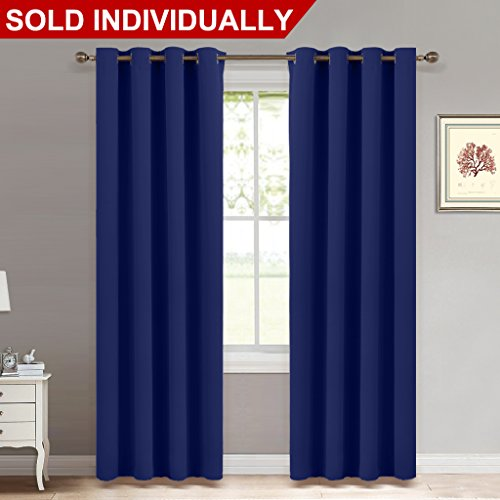 Blackout Navy Blue Curtain Panel - Light Blocking Room Dakening Drape / Drapery for Nursery Room by NICETOWN, Ring Top, 52 inch wide by 84 inch long, 1 - Dark Blue Solid