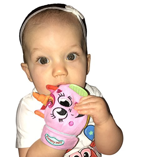 Yummy Mitt Teething Mitten- -Natural Self-Soothing Handy Teething Remedy- 3-8 Months- 100% Cotton (NOT Polyester) and Side Teether Tabs (Isabella The Unicorn)