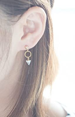 Tiny White Marble Pattern Stone Triangle With Circle Stud Earrings