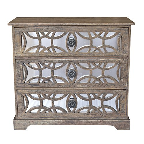 Wood Chests Bengal Manor Dark Mango Wood 3 Drawer Fretwork and Metal Chest 33 X 30 X 15 Inches Brown