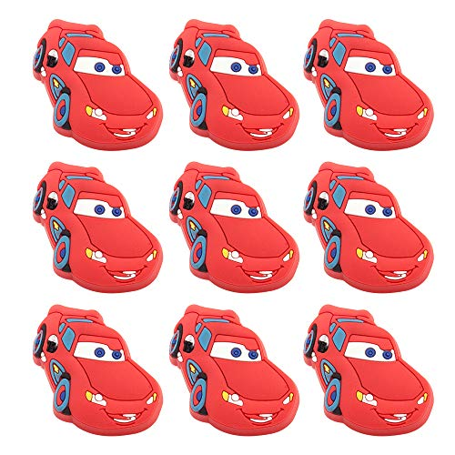 Skert, Boys and Girls Cartoon Red Lightning Car Furniture Drawer Pull Knob Cabinet Kitchen Handle Kids Bedroom Cabinet Dresser Knobs Pulls Pack of 10