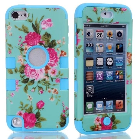 For iPod Touch 5,cute ipod touch 5 cases,Touch iPod 5 case,Flipcase Touch 5 cases,Case for Touch 5 Case 3in1 Beautiful Flowers Picture Hybrid Cover Case Suitable Fit For iPod Touch 5th Generation,ipod 5 touch cases for girls