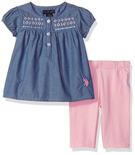 Girl Printed Fashion Top - U.S. Polo Assn. Baby Girls Fashion Top Set, Printed Chambray and Capri Legging Prism Pink, 6-9 Months