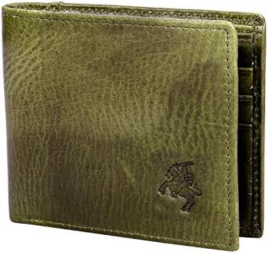 VIDENG POLO WC20 RFID Blocking Crazy Horse Genuine Leather Slim Bifold Wallet for Men