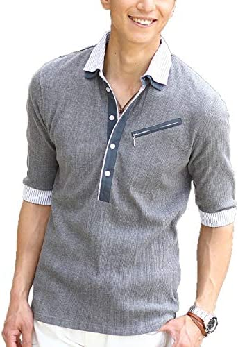 (メンズスタイル)クールマックスランダムテレコ素材ジップ付き2枚襟ポロシャツ
