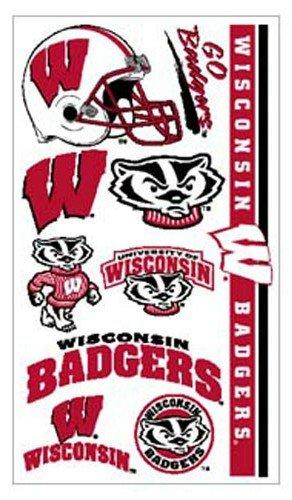 Wisconsin Badgers NCAA Temporary Tattoos (10 Tattoos)