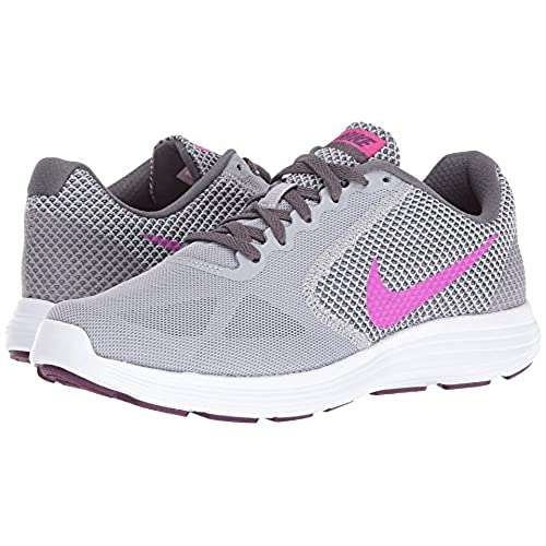 ada738dcabaa Nike Revolution 3 Wolf Grey Dark Grey Bright Grape Fire Pink Women s Running