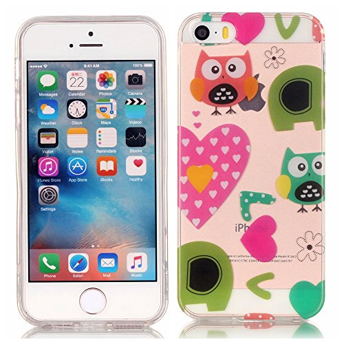 ZXLZKQ Transparent Cartoon Chat Amour Doux TPU 3D Silicone Case Coque Housse Etui pour Apple iPhone 5/5S/SE