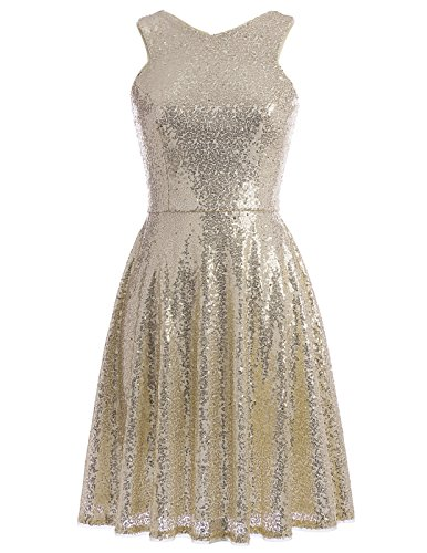 Kate Kasin Gold Sequined Evening Formal Gown Knee-Length V-Back Dress Sleeveless Gold,US16 KK1065