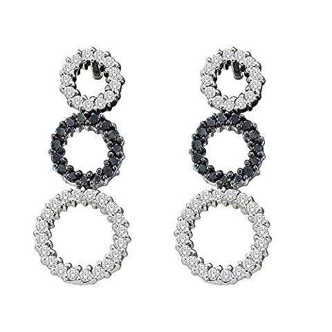 14kt White Gold Womens Round Black Colored Diamond Triple Circle Earrings 3/4 Cttw - Diamond Triple Circle Earrings