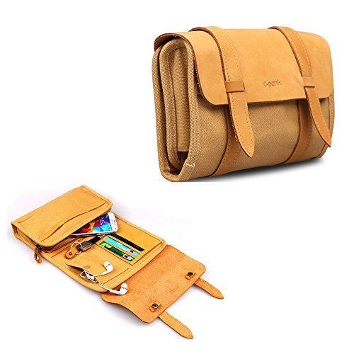 Leather Canvas Multifunction Carry Electronics Organizor Oxford Handbag Case USB Flash Drive Case Bag Wallet SD Memory Cards Cable Organizer Travel Gadget Case of Accessories for Men and Women
