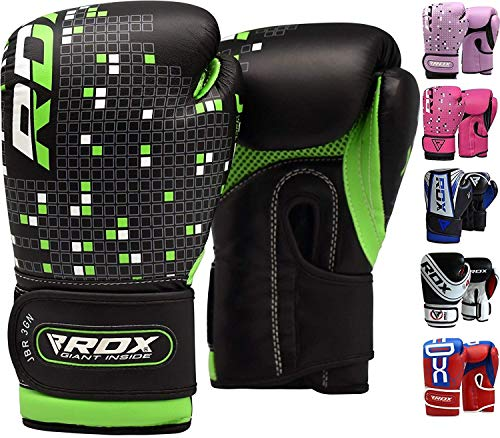 (RDX Maya Hide Leather 4oz 6oz Kids Boxing Gloves Junior Punch Bag Children MMA Training Youth Muay Thai Mitts, 6oz, Green)