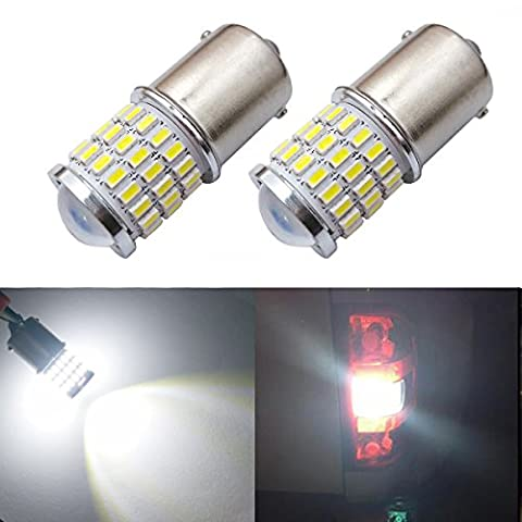 iBrightstar Newest 9-30V Super Bright Low Power 1156 1141 1003 BA15S LED Bulbs with Projector replacement for Back Up Reverse Lights,Brake Lights,Tail Lights,Rv lights,Xenon (1156 Led Bulb Replacement)
