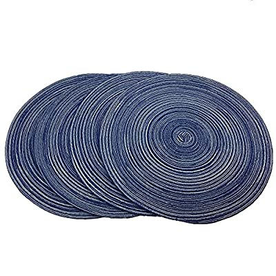 """WAZAIGUR Red-A,Placemats,Round Placemats for Dining Table Set of 4 Woven Heat Resistant Non-Slip Kitchen Table Mats Diameter 14 inch(Blue) - Include 4 pcs of placemats,each measures:Diameter 14"""". Beautiful braided design,update your dining table and kitchen decor,very perfect for everyday use or holidays,like Thanksgiving,Christmas. Made of high quality environmental ramie,use freely without any chemicals,Very natural,durable,washable. - placemats, kitchen-dining-room-table-linens, kitchen-dining-room - 51dqVa2T9QL. SS400  -"""