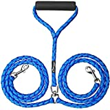 Peteast Dual Double Dog Leash No Tangle W Soft Handle for Two Dogs - Blue