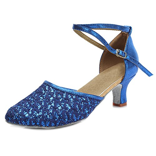 Hroyl Women M18026 Scarpe Da Ballo Latino Satinato Blu