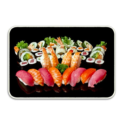 (Camping Door Mat Rolls Sushi Plate A Lot Seafood Entrance Mat Floor Mat Rug Indoor/Outdoor)