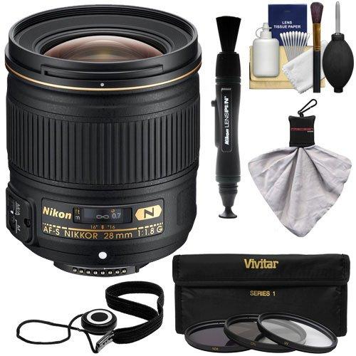 Nikon 28mm f/1.8G AF-S Nikkor Lens with 3 UV/ND8/CPL Filters + Kit for D3200, D3300, D5200, D5300, D7000, D7100, D610, D800, D810 & D4s DSLR Cameras