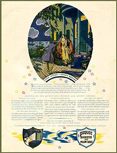 Good Night Southern Belle in 1927 PEQUOT Sheets AD Original Paper Ephemera Authentic Vintage Print Magazine Ad/Article -