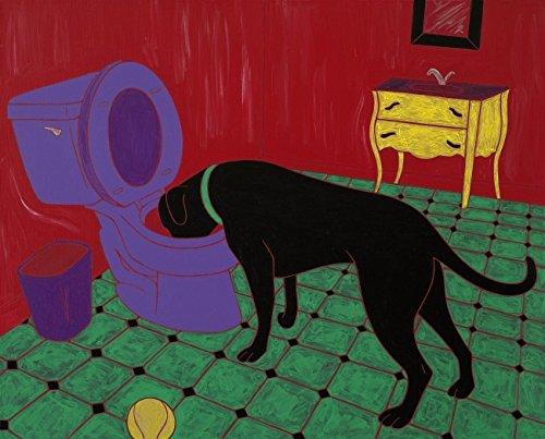 Painting Drinker - Black Labrador Heavy Drinker - Lab Dog Potty Bathroom Art Print by Angela Bond