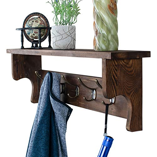 GENEROUS Wall Mounted Coat Rack Entryway Shelf Wooden Organizer with Hooks Storage Shelves for Hallway Living Room Bedroom Bathroom Kitchen